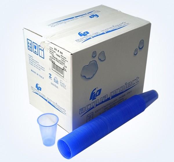 Trinkbecher blau 0,18 Liter Karton: 10 Stangen á 100 Becher